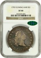 1795 FLOWING HAIR $1 NGC/CAC EXTRA FINE 40 3 LEAVES BEAUTIFUL EXTRA FINE  - BUST SILVER DOLLAR