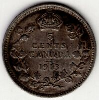 1913 CANADA FIVE 5 CENT GEORGE V FISHSCALE STERLING SILVER N