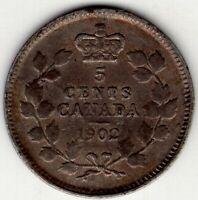 1902 CANADA FIVE 5 CENT EDWARD VII FISHSCALE STERLING SILVER