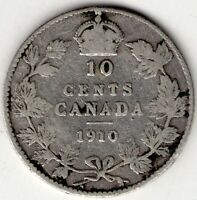 1910 CANADA TEN 10 CENT EDWARD VII STERLING SILVER DIME COIN