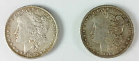 LOT OF 2 MORGAN SILVER DOLLARS AU WITH TONE 1 1880-O 1 1881-O NEW ORLEANS