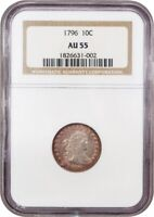 1796 10C NGC AU55 - BUST DIME - DESIRABLE EARLY ISSUE