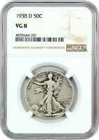 1938-D 50C NGC VG-08 - LOW MINTAGE ISSUE - WALKING LIBERTY HALF DOLLAR