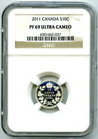 1911 2011 CANADA SILVER PROOF 10 CENT NGC PF69 RCM PATTERN D