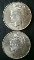1922 AND 1923 $1 PEACE SILVER DOLLARS