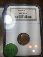 1909-VDB LINCOLN WHEAT CENT, NGC MINT STATE 62 RB, 12
