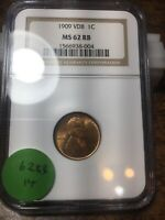 1909-VDB LINCOLN WHEAT CENT, NGC MINT STATE 62 RB, 14