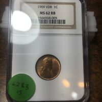 1909-VDB LINCOLN WHEAT CENT, NGC MINT STATE 62 RB, 15