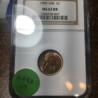 1909-VDB LINCOLN WHEAT CENT, NGC MINT STATE 62 RB, 17