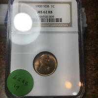 1909-VDB LINCOLN WHEAT CENT, NGC MINT STATE 62 RB, 19