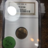 1909-VDB LINCOLN WHEAT CENT, NGC MINT STATE 62 RB, 20