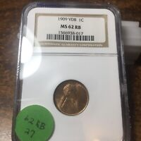 1909-VDB LINCOLN WHEAT CENT, NGC MINT STATE 62 RB, 27