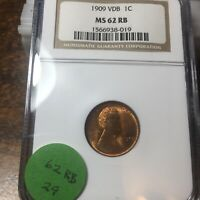 1909-VDB LINCOLN WHEAT CENT, NGC MINT STATE 62 RB, 29