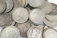 20 PC LOT OF MORGAN & PEACE DOLLAR SILVER COIN 1885-1935 G-AU MIXED MINT MARKS