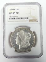 1898-O MORGAN DOLLAR CERTIFIED NGC MINT STATE 63 DPL SILVER DOLLAR DEEP MIRROR PROOFLIKE