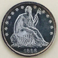 1866 SEATED LIBERTY WITH MOTO HALF MS      NON PROOF PL  ULT
