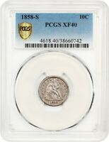 1858-S 10C PCGS EXTRA FINE 40 - SEATED LIBERTY DIME -  S-MINT