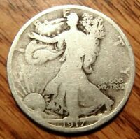 1917-S  REV LIBERTY WALKING SILVER HALF DOLLAR WELL CIRCULATED COIN 2