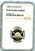 1982 CANADA 5 CENT NGC PF69 ULTRA CAMEO NICKEL PROOF TOP POP