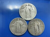 LOT OF 3 SILVER STANDING LIBERTY QUARTERS SLQ 1923 1924 1926-D W2-P