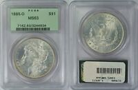 1885-O MORGAN SILVER DOLLAR  PCGS OGH MINT STATE 63  90 SILVER U.S. COIN  834