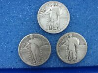 LOT OF 3 SILVER STANDING LIBERTY QUARTERS SLQ 1923 1926-D 1927-D W2-V