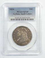 1834 CAPPED BUST/LETTERED EDGE LARGE DATE SMALL LETTERS SILVER 50C PCGS EXTRA FINE  45