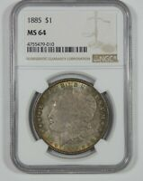 1885 MORGAN DOLLAR CERTIFIED NGC MINT STATE 64 SILVER $ PRETTY ANTIQUE TONE