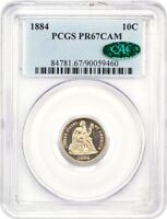 1884 10C PCGS/CAC PR 67 CAM - FROSTY, GOLDEN CAMEO - SEATED LIBERTY DIME