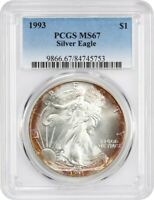 1993 SILVER EAGLE $1 PCGS MINT STATE 67 - AMERICAN EAGLE SILVER DOLLAR ASE