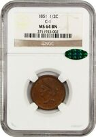 1851 1/2C NGC/CAC MINT STATE 64 BN C-1 BRAIDED HAIR HALF CENTS 1840-1857