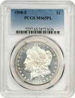 1898-S $1 PCGS MINT STATE 65 PL - FLASHY BETTER DATE - MORGAN SILVER DOLLAR