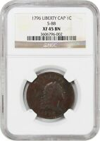 1796 1C NGC EXTRA FINE 45 BN LIBERTY CAP, S-88 R VARIETY - LARGE CENT