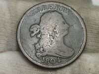 1804 DRAPED BUST US HALF CENT CROSSLET 4 W/ STEMS TYPE.  82