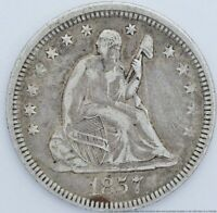 1857 SEATED LIBERTY US AMERICAN QUARTER DOLLAR 25 CENTS SILV