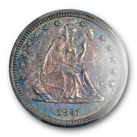 1861 25C SEATED LIBERTY QUARTER PCGS AU 55 ABOUT UNCIRCULATED PURPLE TONED
