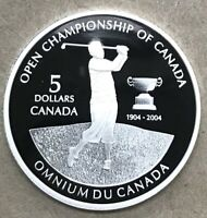 2004 $5 FINE SILVER COIN 100TH ANNIVERSARY OF CANADIAN OPEN