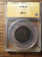 1798 DRAPED BUST LARGE CENT ANACS GRADED AG-3 CORRODED