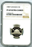 1987 CANADA 5 CENT NGC PF69 ULTRA CAMEO NICKEL PROOF POP ONL