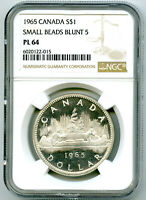1965 $1 CANADA SILVER DOLLAR NGC PL64 SMALL BEADS BLUNT 5 VO