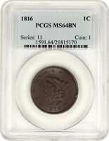1816 1C PCGS MINT STATE 64 BN - CORONET HEAD LARGE CENTS 1816-1839 - POPULAR DATE