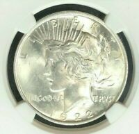1922 PEACE SILVER DOLLAR  NGC MINT STATE 63 BEAUTIFUL COINREF25-030