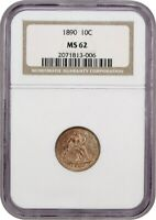 1890 10C NGC MINT STATE 62 - SEATED LIBERTY DIME