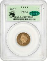 1862 1C PCGS/CAC PR 64 OGH, EAGLE EYE PHOTO SEAL INDIAN CENT