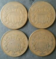 LOT OF FOUR 2C TWO CENT PIECES