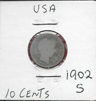 U.S.A 10 CENTS 1902-S BARBER DIME,LAUREATE HEAD RIGHT,DATE AT ANGLE BELOW OBVERS