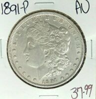 1891 MORGAN SILVER DOLLAR  AU  COIN