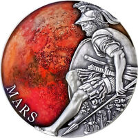MARS PLANETS AND GODS 3 OZ ANTIQUE FINISH SILVER COIN CFA CA