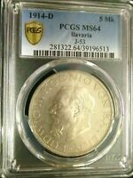 PCGS MS64 GOLD SHIELD GERMANY BAVARIA 1914D LUDWIG III SILVE