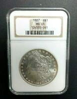 1887 S$1 NGC CERTIFIED MINT STATE 65 MORGAN SILVER DOLLARS 041